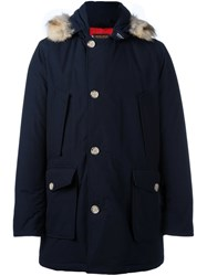 Woolrich Hooded Detail Parka Coat Blue