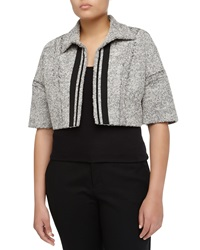 Carolina Herrera Boxy Open Front Tweed Cropped Jacket Canvas Charcoal