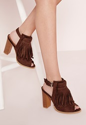 Missguided Tassel Front Ankle Boots Tan Brown