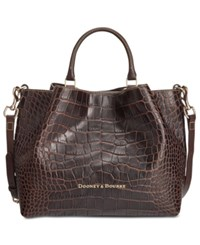 Dooney And Bourke City Lafayette Large Embossed Barlow Satchel Brown