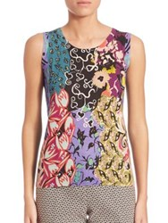 Etro Floral Patchwork Shell Silk Blend Tank Top Multi