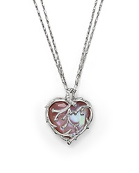 Michael Aram Sterling Silver And Pink Mother Of Pearl Doublet Heart Pendant Necklace With Diamond Accents 24