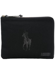Polo Ralph Lauren Logo Print Clutch Bag Black