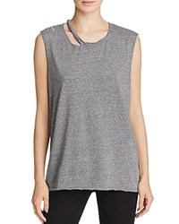 Pam And Gela Slash Neck Muscle Tee Heather Grey