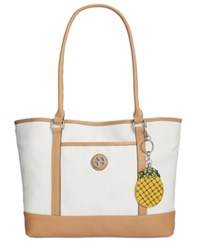 Giani Bernini Canvas Fruit Large Tote Only At Macy's Natural Natural