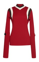 Marni Long Sleeve V Neck Sweater Red