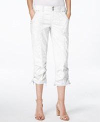 Inc International Concepts Petite Ruched Leg Cargo Capri Pants Only At Macy's Bright White
