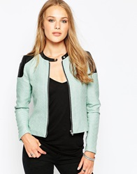 Noisy May Short Blazer With Contrast Shoulders Bleachedaqua
