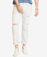 Denim And Supply Ralph Lauren Men's Slim Fit Destructed Jeans White