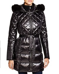 Bcbgmaxazria Quilted Coat With Fox Trim Black