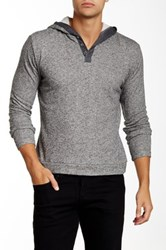 Smash Hooded Henley Sweater Gray