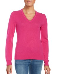 Lord And Taylor Basic V Neck Cashmere Sweater Cosmopolitan Pink
