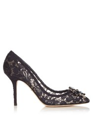 Dolce And Gabbana Crystal Embellished Lace Pumps Navy