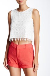 Necessary Objects Crochet Crop Top White