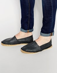 Asos Espadrilles In Black With Snakeskin Effect Black