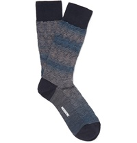 Missoni Diamond Weave Wool Blend Socks Blue