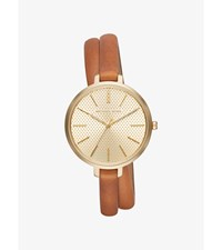 Jaryn Gold Tone And Leather Wrap Watch