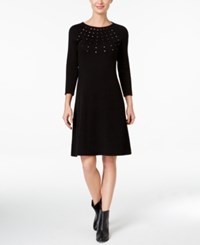 Nine West Studded A Line Sweater Dress Black