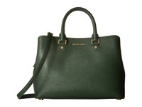 Michael Michael Kors Savannah Lg Satchel Moss Satchel Handbags Green