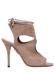 Aquazzura 105Mm Sexy Thing Lace Up Suede Booties