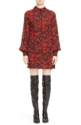 Mcq By Alexander Mcqueen Women's Floral Pintuck Silk Shirt Dress