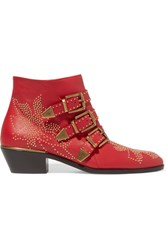 Chloe Susanna Studded Textured Leather Ankle Boots