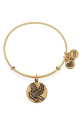 Women's Alex And Ani 'Sacred Dove' Adjustable Wire Bangle Gold