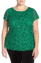 Plus Size Women's Adrianna Papell Beaded Mesh Top Emerald