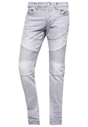 True Religion Rocco Slim Fit Jeans Moto No Flap Faded Slate Grey Denim