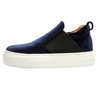 Selected Femme Stephanie Slip On Flatform Trainers Dark Navy Velvet