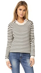 Rebecca Minkoff Prim Striped Sweater Cream Charcoal