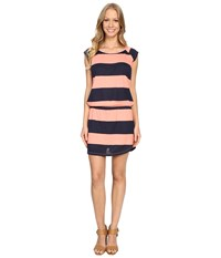Allen Allen Stripe Short Sleeve Raglan Dress Peach Amber Women's Dress Pink