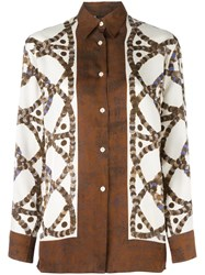 Jean Paul Gaultier Vintage Side Graphic Print Shirt Brown
