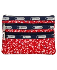 Le Sport Sac Lesportsac 3 Zip Cosmetics Case Sailing Floral Red