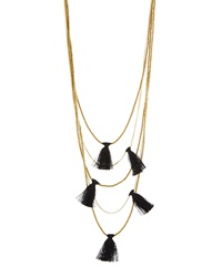 Nakamol Long Multi Strand Fringe Necklace Golden Black
