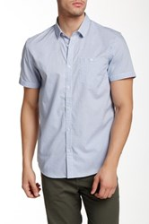 Calvin Klein Short Sleeve Mini Grid Slim Fit Shirt Blue