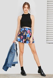 Forever 21 Floral Box Pleated Skirt Navy Blue