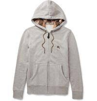 Burberry Pearce Cotton Blend Jersey Hoodie Gray