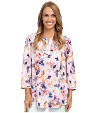 Nydj Solid 3 4 Sleeve Pleat Back Spring Tide Floral Women's Blouse Pink