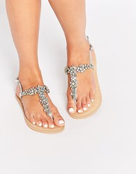 Asos Fiji Wide Fit Embellished Leather Flat Sandals Iridescent Silver