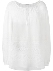 Saint Laurent Broderie Anglaise Gypsy Blouse White