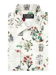 New And Lingwood Herbario Botanical Print Shirt Cream