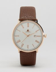 Asos Watch With Brushed Face And Leather Strap Brown