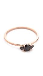Blanca Monros Gomez 3 Stone Solitaire Ring Rose Gold Black Diamond