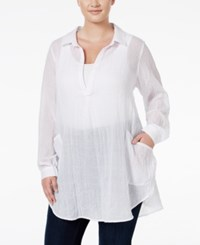Melissa Mccarthy Seven7 Trendy Plus Size Sheer Crinkled Tunic Top White