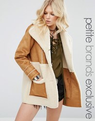 Glamorous Petite Oversize Faux Shearling Panel Coat Tan Brown