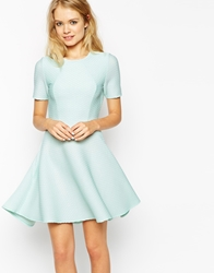Asos Skater Dress In Texture With Cut Out Back And Dipped Hem Mint