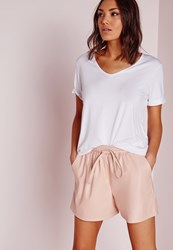 Missguided Tie Waist Detail Faux Leather Shorts Nude Beige
