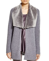 Lafayette 148 New York Shearling Collar Knit Cardigan Bloomingdale's Exclusive