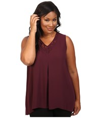 Vince Camuto Plus Size Sleeveless Lace Front High Low Hem Blouse Raisin Women's Blouse Brown